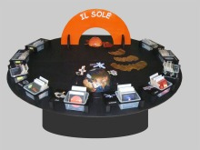 A tabletop exhibit for public events combining a hands-on approach to science and dialogue with scientists. It aims at bridging the gap between visitors' diverse knowledge backgrounds and scientists varied fields of specialization by providing a context and many entry points.