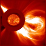 A strong solar storm propagates into space. Image by the satellite SOHO.